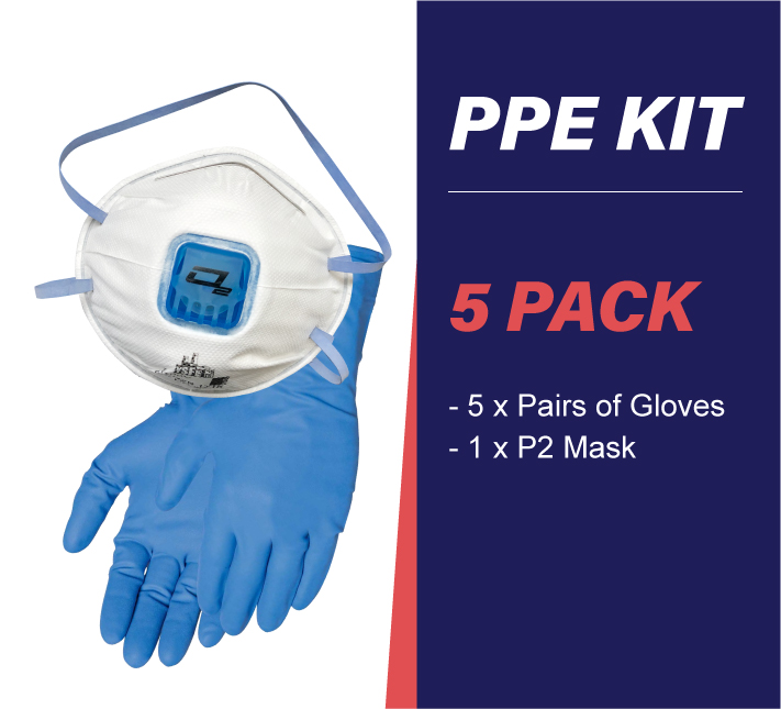 5 pack PPE kit with gloves and p2 mask